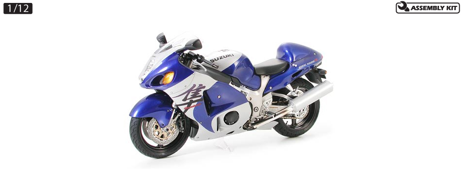 Tamiya 14090 1/12 1998 Suzuki Hayabusa GSX 1300R Motorcycle This is Tamiya 14090 1/12 1998 Suzuki Hayabusa GSX 1300R Motorcycle. In 1998, the Suzuki Hayabusa 1300 (GSX1300R) was quite the sensation during its debut at the INTERMOTO 98 show in Germany. The Hayabusa is equipped with a 175hp in line 4-cylinder 4 DOHC valve water-cooled engine. To ensure good airflow to the ram air duct, a unique cowling design with vertically positioned twin headlights was adopted. The Hayabusa also realizes quick and powerful acceleration and performs excellent curving as well as effective braking. For expert and average level riders alike the cutting-edge Suzuki Hayabusa 1300 has proven to be rider friendly, and developed around the concept of the ultimate sports bike continues to delight riders all over the world.Its key features are:1/12 scale, Overall length: 178mm, Overall width: 71mmFrom its unique shape to the engine, this model accurately reproduces the real HayabusaParts such as upper cowling and tank are molded as one pieceFor engine, cowling, and swing arms screws are used for reliable attachment to the frameTires are made of real rubberPaints needed: Black, Gloss Aluminum, Red, Gunmetal, Chrome Silver, Semi-Gloss Black, Smoke, Titanium Gold, Titanium Silver, Flat Black, Flat White, Flat Aluminum, Metallic Grey, Light Gunmetal, Mica Blue, Telefonica BlueCondition: Factory NewOperational Status: FunctionalThis item is brand new from the factory.Original Box: YesManufacturer: TamiyaModel Number: 14090MSRP: $44.00Category 1: Other ToysCategory 2: Model KitsAvailability: Ships in 1 Business Day!The Trainz SKU for this item is P12000164. Track: 12000164 - No Location Assigned - 001 - TrainzAuctionGroup00UNK - TDIDUNK