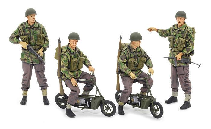 Tamiya 35337 1:35 Brit Paratroopers w/ Motorcycle This is Tamiya 35337 1:35 Brit Paratroopers w/ Motorcycle. During WWII, British paratroopers sometimes had occasion to use a 1-man folding motorcycle. The creative and compact frame was powered by a 1.5hp, 98cc engine, the vehicle weighing in at a mere 32kg and storable in a 38cm diameter parachute airdrop canister. They were distributed to the 1st and 6th Airborne Divisions and deployed in their actions in Operation Market Garden, September 1944. While paratroopers naturally made use of them to become mobile after airdrops, the maneuverable motorcycles were also often used as run-abouts on air bases.Its key features are:This is a 1/35 scale plastic model assembly kitMotorcycle model length: 38mmThe unique design of the motorcycle is accurately captured with high-quality moldingPhoto-etched parts to depict spokes and chain add a real touch of detail to the modelFigures can be depicted in seated or standing positions, and each has a choice of 2 head and right arm partsFirearms are also accurately capturedFigures have a detailed finish with accessories such as Sten sub-machine gun, Enfield rifle, pouch, water canister and moreChoose whether to recreate the motorcycle in ready-to-ride condition, or folded for use as an accessory on another 1/35 scale modelWith figures, motorcycle model and accessories included, this kit represents an excellent opportunity to create a stand-alone diorama or add to a larger creationPaints needed: Gunmetal, Gold Leaf, Flat Black, Flat Green, Flat Brown, Flat Flesh, Flat Aluminum, Khaki, Flat Earth, Buff, Olive Green, Dark Yellow, Dark Green, Red Brown, Rubber BlackLength: 1.49 (38mm)Width: .64 (16.5mm)Height: .88 (22.5mm)Condition: Factory NewOperational Status: FunctionalThis item is brand new from the factory.Original Box: YesManufacturer: TamiyaModel Number: 35337MSRP: $29.00Category 1: Other ToysCategory 2: Model KitsAvailability: S
