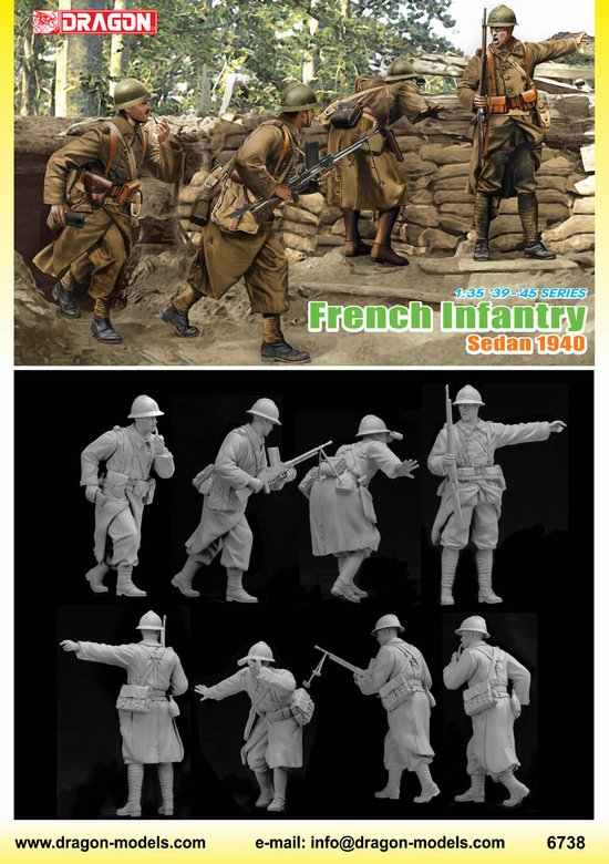 Dragon 6738 1:35 1940's French Infantry 4 Figure Set This is Dragon 6738 1:35 Frnch Infantry'40sed. French Infantry, Sedan 1940 (4 figures set). On 10 May 1940, Germany launched its long-awaited attack in Western Europe, driving through Belgium, Netherlands and Luxembourg. However, this was a diversion, for Army Group A - and its 1,753 tanks - was ready to slice through the lightly defended Ardennes. XIX. Panzerkorps, under the command of Heinz Guderian, emerged at Sedan on the Meuse River, and the capture of this city would allow German forces to advance deep into the undefended interior of France and to encircle British forces in Belgium. The Battle of Sedan took place from 12-15 May. The city was quickly taken, and demoralized French forces on the west bank of the Meuse were unable to mount a coherent defense or to launch successful counterattacks. The Battle of Sedan was thus instrumental in the total defeat of France shortly thereafter.Dragon is releasing a 1/35 scale figure set depicting this battle. The four soldiers are French infantrymen, making this Dragon's first WWII French infantry subject! The set depicts four Frenchmen defending their positions on the outskirts of Sedan. They wear typical uniforms of the day, and carry suitable weapons such as the Fusil mitrailleur modèle 1924 M29 (FM 24/29) light machine gun, plus MAS Modèle 36 rifles. One of the officers is even smoking a pipe, giving this figure a nice touch of character. The poses are well designed, and their molding is sharp and realistic. This first-ever French figure set will undoubtedly inspire modelers' imaginations and open up a plethora of WWII diorama opportunities.Its key features are:Highly detailed plastic pieces molded in light greyFigures standing in different posesPainting guide is on the back of the boxParts: 50+Box Size: 6.4 x 10.2 x 1.5Condition: Factory NewOperational Status: FunctionalThis item is brand new from the factory.Original Box: YesManufacturer: