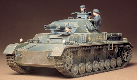 Tamiya 35096 1/35 German Panzerkampfwag IV This is Tamiya 35096 1/35 German Panzerkampfwag IV. With their long 7.5cm guns, and often with skirt armour, the later models of the PzKpw IV series have become the best known and the most frequently modelled variants. These were the tanks that took part in all the big tank battles of World War II and formed the backbone of Hitler's panzer divisions.Its key features are:Plastic pieces attached to sprues and molded in dark grayReady to assemble precision model kitMany accessory partsThree unassembled figures with authentic expressionsHighly detailed exteriorRoomy vehicle with good ammunition storageAuthentic rubber tracksWheels designed to moveOpening doors for three figuresMachine gun attached to front of tankAntenna, spare wheel, jerrycan, and bucket includedWaterslide decalsDetailed pictorial instructionsPaints needed: Matt Black, Metallic Gray, Dark Yellow, German Gray, Red Brown, Gun Metal, Dark Green, Gloss Black, Aluminum, Matt Flesh, Light GrayCondition: Factory NewOperational Status: FunctionalThis item is brand new from the factory.Original Box: YesManufacturer: TamiyaModel Number: 35096MSRP: $27.00Category 1: Other ToysCategory 2: Model KitsAvailability: Ships in 2 Business Days!The Trainz SKU for this item is P11994046. Track: 11994046 - No Location Assigned - 001 - TrainzAuctionGroup00UNK - TDIDUNK