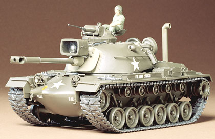 Tamiya 35120 1/35 US M48A3 PATTON This is Tamiya 35120 1/35 US M48A3 Patton. Design of the M48 series of medium tanks commenced in October 1950, with the Chrysler Corporation commissioned to do the design work and provide six prototypes. Due to the Korean war, production of the M48 was authorized prior to the completion of any prototype or testing. Ford and General Motors were awarded production contracts, in addition to Chrysler, and the first M48 was delivered in early 1953. Numerous technical problems with the new tank delayed its deployment in significant numbers until 1958. There are numerous variations and modifications of the M48 in existence all over the world today, and this kit depicts an M48A3 Patton as it appeared during the Vietnam conflict when employed by the U.S. Forces. Using a cast elliptical hull which has high structural rigidity and excellent ballistic protection, this 47.5 ton tank has proven its worth in the field of combat against like opposition. The major improvement of the M48 over the M47 was the superior shape of the Turtleback cast steel turret, which provided a greater internal volume and much better ballistic protection. Armed with a 90mm M41 gun and on 7.62 coaxial machine gun and a 12.7 machine gun in the commanders cupola, and powered by a Continental V-12 AV-1790 petrol engine of 865 hp, this fine tank has a top road speed of 48 km/h. It is crewed by a Commander, Gunner, Radio operator/loader and a driver. The M48 series of medium tanks is or has been used by a great number of nations around the world, and is expected to remain a first line battle tank for many years to come.Its key features are:Plastic parts molded in olive drab greenPosition of accessories on tank - such as the Jerry cans - can varyCommander and another figure includedPliable and authentic tank tracksWire rope includedWaterslide decals with markings for two tank craftDetailed pictorial instructionsMarking options:One decal sheet with markings for t