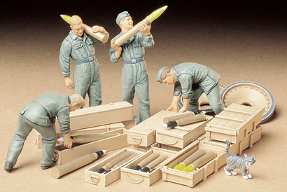 Tamiya 35188 1/35 German Tank Ammo Loading Crew This is Tamiya 35188 1/35 German Tank Ammo Loading Crew.Its key features are:Parts molded in tan and attached to sprue treesIncludes four WWII German tank crew figures and many additional accessoriesFigures depict four varying postures while loading ammunition in their tankTwo figures wear fatigue clothes, while the other two are in jump suitsAmmo includes two 75mm armor-piercing shells for the Panther, two 88mm armor-piercing shells for the King Tiger, six 75mm armor-piercing shells for the Pz.Kpfw.IV (long-barrel), and four 88mm high explosive shells for the Tiger IFour ammunition crates for each of the above-mentioned tanks are also supplied. These were used during transport, often mounted on the hull of the tanksSpare road wheels for the Panther tank, plus lucky cats are includedWaterslide decalsCondition: Factory NewOperational Status: FunctionalThis item is brand new from the factory.Original Box: YesManufacturer: TamiyaModel Number: 35188MSRP: $13.00Category 1: Other ToysCategory 2: Model KitsAvailability: Ships in 3 to 5 Business Days.The Trainz SKU for this item is P11994052. Track: 11994052 - FS - 001 - TrainzAuctionGroup00UNK - TDIDUNK