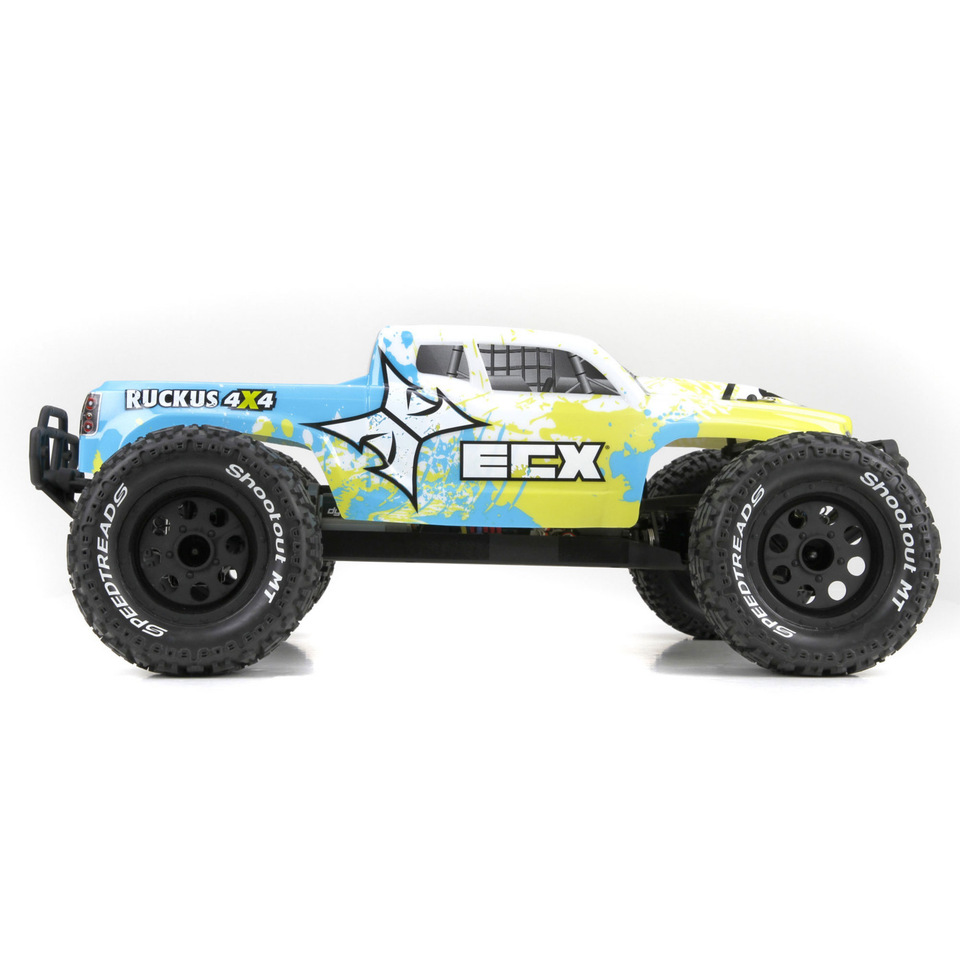 ECX 03042 1/10 Ruckus 4wd Monster Truck Brushed: Ready-to-Run This is an ECX 03042 1/10 Ruckus 4wd Monster Truck Brushed: Ready-to-Run. This version of the ECX® Ruckus® Monster Truck comes ready to assert total RC dominance with a ruthless 4WD platform and massive monster truck design. Building upon its reputation as the biggest basher in the ECX lineup, the 4WD Ruckus comes equipped with a massive 4WD drivetrain and sealed differentials. Best of all the electronics on the 4WD Ruckus come pre-installed and have been assembled on a durable nylon composite chassis powered by a high torque 550 sized 15-T motor. The Ruckus comes ready-to-run with a LiPo ready ESC that helps maximize the ruthless potential of this monster truck. Beyond being a highly capable basher, the 4WD Ruckus Monster Truck comes Ready-to-Run with a Spektrum™ DX2E 2.4 GHZ radio system and waterproof SR310 receiver for extended range and interference-free operation. Also included with the Ruckus are 4 AA batteries to power the DX2E as well as a 2400maH 7-cell battery and charger.Key Features:Completely ready-to-run with everything needed in one box4WD Drivetrain with sealed gear differentialsPre-installed potent 550 sized 15-T motor and LiPo (2S LiPo compatible) ready ESCSpektrum™ DX2E 2.4 GHz transmitter and SR310 waterproof receiverDynamite charger includedDynamite 2400mAh 7-cell battery includedESC and battery come pre-wired with high-current EC3™ connectorsWaterproof Dynamite servo and electronicsNylon composite chassis and parts material for extreme durabilityAdjustable oil filled shocks for precise handling in diverse conditionsAll-Terrain aggressive treaded tiresFully-painted and -decaled body out of the boxBeginner-friendly battery retaining systemReal ball bearings, enable higher speeds and a smoother-handling truckAVC™ (Active Vehicle Control™) Ready**Requires Spektrum SRS4210 AVC ReceiverCondition: Factory NewOperational Status: FunctionalThis item is brand new from the factory.Original Box
