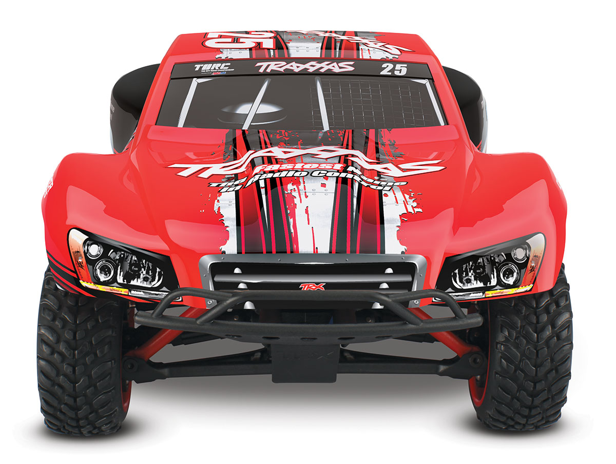 Traxxas 700541D1 1/16 Slash 4x4 RTR,w/TQ2.4GHz, Mark #25 This is Traxxas 700541D1 1/16 Slash 4x4 RTR,w/TQ2.4GHz, Mark #25. XL-2.5 Waterproof Electronic Speed Control. Designed and engineered by Traxxas, the XL-2.5 Electronic Speed Control is completely waterproof for all-weather R/C driving fun. This high-performance ESC is packed with impressive specifications that are normally only found on more expensive high-end replacement units. The XL-2.5 features three throttle profiles, Thermal Shutdown Protection, 6-7 cell NiMH compatibility, and built-in BEC. High-frequency operation combined with ultra-low resistance make the XL-2.5 an efficient and ultra-smooth fully proportional speed control. The XL-2.5 is manufactured by Traxxas to ensure the highest level of quality and support.Its key features are:Innovative waterproof designLiPo, NiCad, and NiMH compatible with two-stage low-voltage detectionFully-proportional forward, reverse, and braking controlProgrammable with three drive profiles:Sport Mode – Fwd / Brake / RevRace Mode – Fwd / BrakeTraining Mode – 50% Fwd / Brake / 50% RevEZ-Set® push-button setupMulti-color LEDThermal shutdown protectionEfficient, low-loss MOSFET designHigh-capacity heat sinkSmooth, high-frequency operationEasy installation in Traxxas modelsBacked by the Traxxas Lifetime Electronics warrantyTitan® 12-Turn 550 Modified Motor1/16 Slash 4X4 includes a powerful Titan 12T 550 modified motor with internal cooling fan. The Titan's over-sized armature (30% larger compared to 540-sized armatures) is equipped with 12-turns of pure copper wire for big torque and increased power-handling capabilities. Lower running temperatures are achieved with the integrated cooling fan. The Titan 12T requires very little maintenance and is designed for consistent torque and high speeds from run to run, without fading.Revo-Spec SuspensionThe unique Revo®-Spec suspension geometry multiplies the suspension travel to lengths normally found on lar