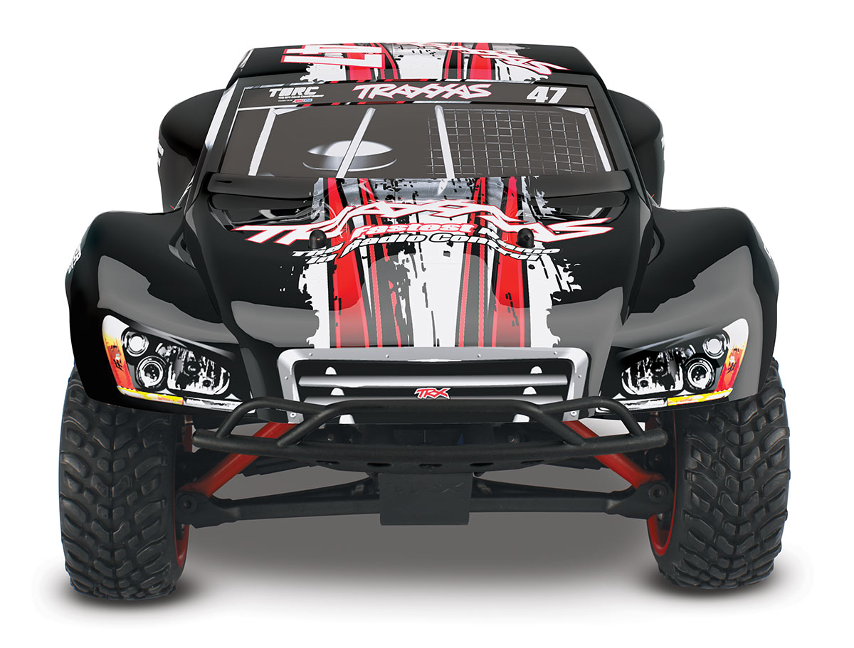 Traxxas 700541D4 1/16 Slash 4x4 RTR,w/TQ2.4GHz, Mike #47 This is Traxxas 700541D4 1/16 Slash 4x4 RTR,w/TQ2.4GHz, Mike #47. XL-2.5 Waterproof Electronic Speed Control. Designed and engineered by Traxxas, the XL-2.5 Electronic Speed Control is completely waterproof for all-weather R/C driving fun. This high-performance ESC is packed with impressive specifications that are normally only found on more expensive high-end replacement units. The XL-2.5 features three throttle profiles, Thermal Shutdown Protection, 6-7 cell NiMH compatibility, and built-in BEC. High-frequency operation combined with ultra-low resistance make the XL-2.5 an efficient and ultra-smooth fully proportional speed control. The XL-2.5 is manufactured by Traxxas to ensure the highest level of quality and support.Its key features are:Innovative waterproof designLiPo, NiCad, and NiMH compatible with two-stage low-voltage detectionFully-proportional forward, reverse, and braking controlProgrammable with three drive profiles:Sport Mode – Fwd / Brake / RevRace Mode – Fwd / BrakeTraining Mode – 50% Fwd / Brake / 50% RevEZ-Set® push-button setupMulti-color LEDThermal shutdown protectionEfficient, low-loss MOSFET designHigh-capacity heat sinkSmooth, high-frequency operationEasy installation in Traxxas modelsBacked by the Traxxas Lifetime Electronics warrantyTitan® 12-Turn 550 Modified Motor1/16 Slash 4X4 includes a powerful Titan 12T 550 modified motor with internal cooling fan. The Titan's over-sized armature (30% larger compared to 540-sized armatures) is equipped with 12-turns of pure copper wire for big torque and increased power-handling capabilities. Lower running temperatures are achieved with the integrated cooling fan. The Titan 12T requires very little maintenance and is designed for consistent torque and high speeds from run to run, without fading.Revo-Spec SuspensionThe unique Revo®-Spec suspension geometry multiplies the suspension travel to lengths normally found on lar