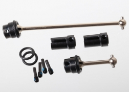 Traxxas 7250R 1:16 Front & Rear Steel Center Driveshafts: Traxxas This is a Traxxas 7250R Front & Rear Steel Center Driveshafts: Traxxas 1/16. Features: Steel Constant Velocity Center Driveshafts are designed to handle the extreme horsepower and torque that Traxxas 1/16 VXL models dish out. Solid-steel construction and heavy-duty drive cups offer maximum precision and efficiency with run-after-run durability. O-rings retain the cross pins so you never have to worry about losing a pin, while still allowing easy maintenance. Complete kit includes front and rear driveshafts, ready to install. Instructions are included for easy installation in any Traxxas 1/16-scale model.Condition: Factory NewOperational Status: FunctionalThis item is brand new from the factory.Original Box: YesManufacturer: TraxxasModel Number: 7250RMSRP: $35.00Category 1: Other ToysCategory 2: Radio Control ToysAvailability: Ships in 3 to 5 Business Days.The Trainz SKU for this item is P12072086. Track: 12072086 - FS - 001 - TrainzAuctionGroup00UNK - TDIDUNK