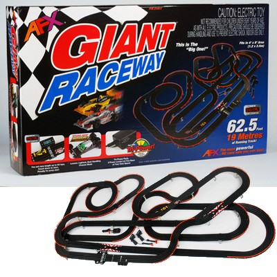 AFX 21017 HO Slot Car Mega G Giant Raceway Race Car Set with Lap Count This is an AFX 21017 HO Scale Slot Car Giant Raceway Race Car Set (MG+) with Lap Counter #21017. With more track pieces, more track length, more levels, more banks, criss-cross tracks, squeeze tracks, sheesh! There just isn't another track like it. The Giant squeezes an amazing amount of action into only 4' x 8' of floor space. And the Giant is the only HO scale set to come with a digital Lap Counter. That's right, only AFX has a full blown electronic Lap Counter and it comes in the Giant set. Not only does it count up to 99 laps, but it starts your race with a 5 second count down. But don't jump the start or you get penalized 1 lap! Super easy to set up and operate, the AFX digital Lap Counter brings a whole new level of fun to slot racing. And only AFX has it! And now, like all new AFX sets, the Giant incorporates the Mega G+ Race System: the easiest slot car system to learn and the easiest to drive at the limit. More fun guaranteed! Of course the Giant was also the first AFX set to get the Tri-Power Pack and what a hit! Its three power levels allow new drivers to learn the right way: one step at a time. That way you can get the hang of racing without getting frustrated. And setting the level is as simple as flipping the switch on the side of the Pack. The levels work like this: Beginner: Cars will stay on the track through about 95% to 100%* of the turns even at full throttle Intermediate: Cars will stay on the track through about 60% to 70%* of the turns at full throttle Expert: You're on your own! * Depending on track layout With Tri-Power Pack and Mega G+ parents can race with their younger children without the child crashing all the time. And what about those birthday parties when you have a lot of children with different skill levels? The Tri-Power Pack lets them race and race and all the players get to enjoy themselves. Leave it to AFX to bring you the biggest, baddest set on the planet 