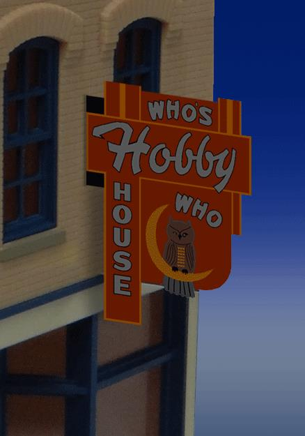 Miller Engineering 441452 HO/N Who's Hobby House Wall-Mount Animated B This is a Micro Structures 441452 HO/N Who's Hobby House Vertical Wall-Mount Animated Neon Billboard - Light Works US Small for HO & N Scales 7/8 x 3/4 2.3 x 1.9cm. Kit includes double sided sign, one EL sign lamp, one ready-to-run power supply with 46 pre-programmed chase patterns and complete instructions. Runs on 3 AAA batteries (not included).Condition: Factory New (C-9All original; unused; factory rubs and evidence of handling, shipping and factory test run.Standards for all toy train related accessory items apply to the visual appearance of the item and do not consider the operating functionality of the equipment.Condition and Grading Standards are subjective, at best, and are intended to act as a guide. )Operational Status: FunctionalThis item is brand new from the factory.Original Box: Yes (P-9May have store stamps and price tags. Has inner liners.)Manufacturer: Miller EngineeringModel Number: 441452MSRP: $32.95Scale/Era: HO ModernModel Type: AccessoriesAvailability: Ships in 1 Business Day!The Trainz SKU for this item is P11985077. Track: 11985077 - No Location Assigned - 001 - TrainzAuctionGroup00UNK - TDIDUNK