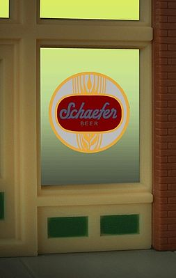 Miller Engineering 8925 HO/O Schaefer Beer Flashing Neon Window Sign This is a Micro Structures 8925 HO/O Schaefer Beer Flashing Neon Window Sign- Light Works USA(TM). For HO & O Scales 13/16 x 13/16 1.9 x 1.9cm. Miller Engineering window sign that comes on an oversized clear background that can be trimmed as small as .8 diameter. Kit includes: One EL sign lamp, One ready-to-run power supply, Complete instructions. Runs on 3 AAA batteries (not included).Condition: Factory New (C-9All original; unused; factory rubs and evidence of handling, shipping and factory test run.Standards for all toy train related accessory items apply to the visual appearance of the item and do not consider the operating functionality of the equipment.Condition and Grading Standards are subjective, at best, and are intended to act as a guide. )Operational Status: FunctionalThis item is brand new from the factory.Original Box: Yes (P-9May have store stamps and price tags. Has inner liners.)Manufacturer: Miller EngineeringModel Number: 8925Road Name: SchaeferMSRP: $17.95Scale/Era: HO ModernModel Type: AccessoriesAvailability: Ships in 3 to 5 Business Days.The Trainz SKU for this item is P11985083. Track: 11985083 - FS - 001 - TrainzAuctionGroup00UNK - TDIDUNK