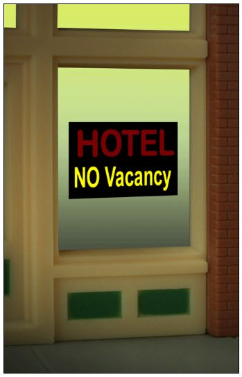 Miller Engineering 8990 HO/O Hotel Flashing Neon Window Sign This is a Micro Structures 8990 HO/O Hotel Flashing Neon Window Sign - Light Works USA 7/8 x 5/8 2.3 x 1.5cm. Comes on an oversized clear background tat can be trimmed as small as .9 wide x .6 tall.Condition: Factory New (C-9All original; unused; factory rubs and evidence of handling, shipping and factory test run.Standards for all toy train related accessory items apply to the visual appearance of the item and do not consider the operating functionality of the equipment.Condition and Grading Standards are subjective, at best, and are intended to act as a guide. )Operational Status: FunctionalThis item is brand new from the factory.Original Box: Yes (P-9May have store stamps and price tags. Has inner liners.)Manufacturer: Miller EngineeringModel Number: 8990MSRP: $17.95Scale/Era: HO ModernModel Type: AccessoriesAvailability: Ships in 3 to 5 Business Days.The Trainz SKU for this item is P12107266. Track: 12107266 - FS - 001 - TrainzAuctionGroup00UNK - TDIDUNK