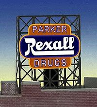 Miller Engineering 338820 N/Z Parker Rexall Drugs Animated Rooftop Bil This is Micro Structures 338820 N/Z Parker Rexall Drugs Animated Rooftop Billboard. These unique signs have the ability to be mounted two different ways. They can be mounted as a regular roof top billboard or, because we have added a second set of contacts to the backside center, they can be mounted flush against the side of a building. When mounted flush the regular supports and lower contact are trimmed off. Kit includes one EL sign lamp, One ready to run power supply with 46 pre-programmed chase patterns. Runs on 3 AAA batteries (Not Included) or optional power supply, sold separately, We have optional power supplies #4802 (Run up to 3 signs) #4803 (Run up to 10 Signs) and the #4804 Converter Module (Run up to 6 Signs) Listed Here: Miller Engineering at JamNan Hobby and Complete instructions.Condition: Factory New (C-9All original; unused; factory rubs and evidence of handling, shipping and factory test run.Standards for all toy train related accessory items apply to the visual appearance of the item and do not consider the operating functionality of the equipment.Condition and Grading Standards are subjective, at best, and are intended to act as a guide. )Operational Status: FunctionalThis item is brand new from the factory.Original Box: Yes (P-9May have store stamps and price tags. Has inner liners.)Manufacturer: Miller EngineeringModel Number: 338820Road Name: RexallMSRP: $22.95Scale/Era: N ScaleModel Type: AccessoriesAvailability: Ships in 2 Business Days!The Trainz SKU for this item is P11985070. Track: 11985070 - No Location Assigned - 001 - TrainzAuctionGroup00UNK - TDIDUNK