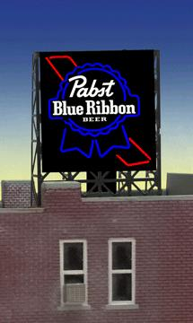 "Miller Engineering 338825 N/Z Pabst Beer Animated Rooftop Billboard This is a Micro Structures 338825 N/Z Pabst Beer Animated Rooftop Billboard Small for N & Z Scales Lattice. This is a new N or Z scale roof top billboard sign for PABST BLUE RIBBON BEER by Miller Engineering. The sign is actually the HO/O scale window sign and designed with a set of photo etched supports so it can be used as roof top billboard for N & Z scales. The frame size is 1"" wide X 1.35"" Tall. These signs have all the features of all Miller Engineering billboards. They run on 4.5 volts DC like our other billboards and are compatible with the AC adapter and #4804 converter module. Support Size: 1 x 1-3/8 2.5 x 3.4cmCondition: Factory New (C-9All original; unused; factory rubs and evidence of handling, shipping and factory test run.Standards for all toy train related accessory items apply to the visual appearance of the item and do not consider the operating functionality of the equipment.Condition and Grading Standards are subjective, at best, and are intended to act as a guide. )Operational Status: FunctionalThis item is brand new from the factory.Original Box: Yes (P-9May have store stamps and price tags. Has inner liners.)Manufacturer: Miller EngineeringModel Number: 338825Road Name: PabstMSRP: $22.95Scale/Era: N ScaleModel Type: AccessoriesAvailability: Ships in 2 Business Days!The Trainz SKU for this item is P11985071. Track: 11985071 - 4028-F (Suite 2730-100)  - 001 - TrainzAuctionGroup00UNK - TDIDUNK"