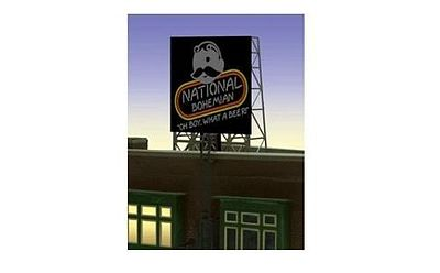 "Miller Engineering 338845 N/Z National Bohemian (Natty Boh) Beer Rooft This is a new N or Z scale roof top billboard sign for NATTY BOH BEER by Miller Engineering. The sign is actually the HO/O scale window sign and designed with a set of photo etched supports so it can be used as roof top billboard for N & Z scales. The frame size is 1"" wide X 1.35"" Tall. These signs have all the features of all Miller Engineering billboards. They run on 4.5 volts DC like our other billboards and are compatible with the AC adapter and #4804 converter module.Condition: Factory New (C-9All original; unused; factory rubs and evidence of handling, shipping and factory test run.Standards for all toy train related accessory items apply to the visual appearance of the item and do not consider the operating functionality of the equipment.Condition and Grading Standards are subjective, at best, and are intended to act as a guide. )Operational Status: FunctionalThis item is brand new from the factory.Original Box: Yes (P-9May have store stamps and price tags. Has inner liners.)Manufacturer: Miller EngineeringModel Number: 338845MSRP: $22.95Scale/Era: N ScaleModel Type: AccessoriesAvailability: Ships in 2 Business Days!The Trainz SKU for this item is P12107255. Track: 12107255 - No Location Assigned - 001 - TrainzAuctionGroup00UNK - TDIDUNK"