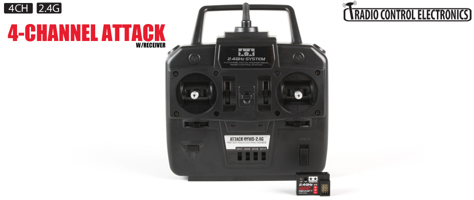 Tamiya 7255252 Attack 2.4 GHZ Radio System, 4 Channel: 1/14 Semi The Tamiya Attack 4YWD-2.4GHz 4-channel Digital Proportional Radio Control System is specifically designed to be used with Tamiya's line-up of vehicles that require a four channel radio system.The Tamiya Attack 4YWD uses 2.4GHz radio frequency technology that eliminates the need to use frequency crystals which allows hobbyists to operate their vehicle worry free from interference from other RC cars in the vicinity. Specifically, the technology used in Tamiya's Attack 4YWD-2.4G is (Frequency Hopping Spread Spectrum).As the name implies, the transmitter signal of the FHSS system literally hops from frequency to frequency in a pseudorandom sequence. The combination of frequency hopping with the transmitters advanced algorithms creates 100% frequency security. The FHSS technology also offers extremely low latency, exceptionally fast frame rates, and the Tamiya system has no external antennas on both the transmitter and receiver units. The internal receiver antenna along with the compact size make for a clean and clutter free installation to any of Tamiya's large scale products.If you are looking for a spare receiver for your Tamiya Transmitter, you can use a Futaba R204GF-ECompatible with Tamiya 1/16 Tanks, 1/14 Semi-trucks and 3-Speed trucks (with or without Multifunction Units)Both Transmitter control sticks use centering springsAnalog trimIncludes 4-channel receiverOperating Voltage: 4.8 - 7.4VReceiving Range: 230' (70m)Battery Failsafe: 3.8VCurrent Drain: 30Ma (at no signal)Size: 1.38 x 0.91 x 0.35 (35.1 x 23.2 x 9mm)Weight: 0.21oz (6g)Transmitter requires 4 AA batteriesCondition: Factory NewOperational Status: FunctionalThis item is brand new from the factory.Original Box: YesManufacturer: TamiyaModel Number: 7255252MSRP: $270.00Category 1: Remote ControlCategory 2: 1:18 ScaleAvailability: Ships in 1 Business Day!The Trainz SKU for this item is P12111243. Track: 12111243 - No Location Assigned - 001 -