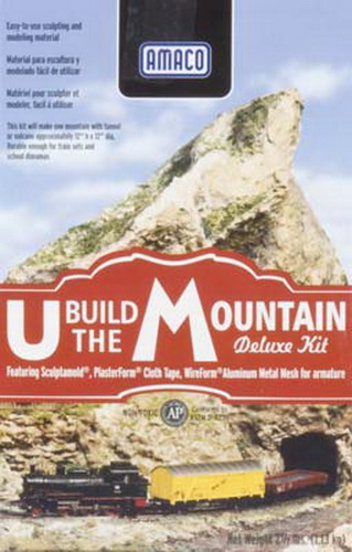 "American Art Clay Co 41830 U Build Mountain Deluxe Kit This is an American Art Clay Co 41830 U Build Mountain Deluxe Kit. Realistic mountains, train dioramas, scenery, and volcanoes are easy to make with the U Build The Mountain DELUXE Kit. In addition to 2 lbs. of AMACO® Sculptamold®, the kit includes a 16"" x 20"" sheet of AMACO® WireForm® Aluminum Studio Mesh for use as an armature and a 4"" x 180"" roll of PlasterForm™ plaster cloth. Detailed instructions for building a mountain and an erupting volcano are also included. Sculptamold® is a versatile sculpting compound that can be used alone or over armatures and it accepts all types of paint so your mountain can appear to be from anywhere in the world. Click here to see how Dave Frary uses Sculptamold® for making model railroad scenery!Condition: Factory New (C-9All original; unused; factory rubs and evidence of handling, shipping and factory test run.Standards for all toy train related accessory items apply to the visual appearance of the item and do not consider the operating functionality of the equipment.Condition and Grading Standards are subjective, at best, and are intended to act as a guide. )Operational Status: FunctionalThis item is brand new from the factory.Original Box: Yes (P-9May have store stamps and price tags. Has inner liners.)Manufacturer: American Art ClayModel Number: 41830MSRP: $30.10Category 1: Scenery & MaterialsCategory 2: Ballast/Coal/RockAvailability: Ships in 3 to 5 Business Days.The Trainz SKU for this item is P11959365. Track: 11959365 - FS - 001 - TrainzAuctionGroup00UNK - TDIDUNK"
