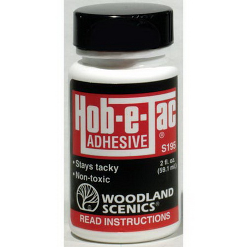 Woodland Scenics S195 2 Oz. Hob-e-Tac Adhesive Here is an original 2 oz bottle of Woodland Scenics S195 Hob-e-Tac Adhesive. It is multi-purpose, water-soluble, high-tack adhesive. Perfect for making trees and attaching Clump-Foliage, Field Grass and Fine-Leaf Foliage. Can also be used as a contact adhesive.Condition: Factory New (C-9All original; unused; factory rubs and evidence of handling, shipping and factory test run.Standards for all toy train related accessory items apply to the visual appearance of the item and do not consider the operating functionality of the equipment.Condition and Grading Standards are subjective, at best, and are intended to act as a guide. )Operational Status: FunctionalThis item is brand new from the factory.Original Box: Yes (P-9May have store stamps and price tags. Has inner liners.)Manufacturer: Woodland ScenicsModel Number: S195MSRP: $6.99Category 1: Scenery & MaterialsCategory 2: Glue & ApplicatorsAvailability: Ships within 3 Business Days!The Trainz SKU for this item is P11422547. Track: 11422547 - 4026-C (Suite 2730-100)  - 001 - TrainzAuctionGroup00UNK - TDIDUNK