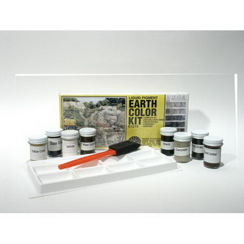 Woodland Scenics C1215 Earth Color Liquid Pigment Kit - 4 oz Here is a Woodland Scenics C1215 Earth Color Liquid Pigment Kit. Contains eight 1-oz bottles of natural earth tone liquid pigments, foam applicator, mixing tray, and complete instructions. This set is versatile, has natural Earth tones, water-soluble, includes 8 realistic colors (white, concrete, stone gray, slate gray, black, raw umber, burnt umber, and yellow ocher), and are non-toxic. It is specially formulated for adding colors to terrain models (plaster, Plaster Cloth, foam, papier-mache, wood, Flex Paste).Condition: Factory New (C-9All original; unused; factory rubs and evidence of handling, shipping and factory test run.Standards for all toy train related accessory items apply to the visual appearance of the item and do not consider the operating functionality of the equipment.Condition and Grading Standards are subjective, at best, and are intended to act as a guide. )Operational Status: FunctionalThis item is brand new from the factory.Original Box: Yes (P-9May have store stamps and price tags. Has inner liners.)Manufacturer: Woodland ScenicsModel Number: C1215Years Manufactured: 1999 - ????MSRP: $19.99Category 1: Scenery & MaterialsCategory 2: Ground CoverAvailability: Ships within 3 Business Days!The Trainz SKU for this item is P11422443. Track: 11422443 - 4003-C (Suite 2730-100)  - 001 - TrainzAuctionGroup00UNK - TDIDUNK
