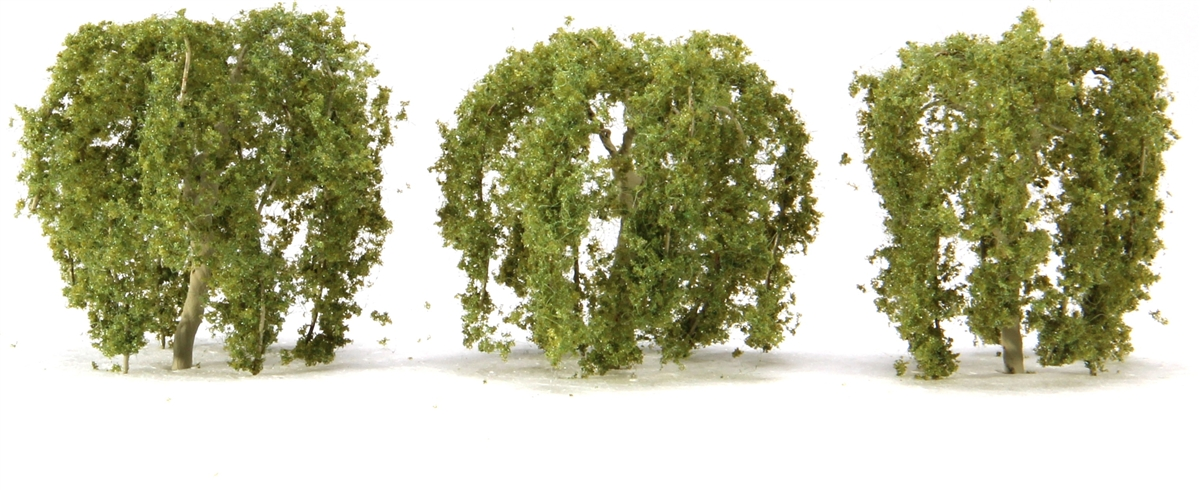 JTT Scenery Products 94268 WEEPING WILLOW 2  3PK This is JTT Scenery Products 94268 (TR-1068) Weeping Willow 2 3pk. N scale - 27', HO scale - 15'. Professional quality wire tree. Assembled and ready to plant. Accurate limbs, detailed trunk, and realistic leavesCondition: Factory New (C-9All original; unused; factory rubs and evidence of handling, shipping and factory test run.Standards for all toy train related accessory items apply to the visual appearance of the item and do not consider the operating functionality of the equipment.Condition and Grading Standards are subjective, at best, and are intended to act as a guide. )Operational Status: FunctionalThis item is brand new from the factory.Original Box: Yes (P-9May have store stamps and price tags. Has inner liners.)Manufacturer: JTT Scenery ProductsModel Number: 94268MSRP: $16.00Category 1: Scenery & MaterialsCategory 2: Trees & ShrubberyAvailability: Ships in 3 to 5 Business Days.The Trainz SKU for this item is P11970263. Track: 11970263 - FS - 001 - TrainzAuctionGroup00UNK - TDIDUNK