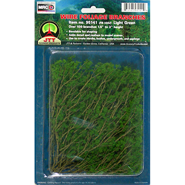 JTT Scenery Products 95518 Light Green 1.5 -3  Wire Branches This is JTT Scenery Products 95518 WIRE BRANCHES, LT GREEN 1.5-3.Condition: Factory New (C-9All original; unused; factory rubs and evidence of handling, shipping and factory test run.Standards for all toy train related accessory items apply to the visual appearance of the item and do not consider the operating functionality of the equipment.Condition and Grading Standards are subjective, at best, and are intended to act as a guide. )Operational Status: FunctionalThis item is brand new from the factory.Original Box: Yes (P-9May have store stamps and price tags. Has inner liners.)Manufacturer: JTT Scenery ProductsModel Number: 95518MSRP: $9.75Category 1: Scenery & MaterialsCategory 2: Trees & ShrubberyAvailability: Ships within 3 Business Days!The Trainz SKU for this item is P11618794. Track: 11618794 - 4045-E (Suite 2730-100)  - 001 - TrainzAuctionGroup00UNK - TDIDUNK
