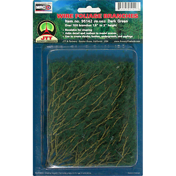 JTT Scenery Products 95520 Wire Branches, Dark Green 1.5-3  This is JTT Scenery Products 95520 Wire Branches, Dk Green 1.5-3.Condition: Factory New (C-9All original; unused; factory rubs and evidence of handling, shipping and factory test run.Standards for all toy train related accessory items apply to the visual appearance of the item and do not consider the operating functionality of the equipment.Condition and Grading Standards are subjective, at best, and are intended to act as a guide. )Operational Status: FunctionalThis item is brand new from the factory.Original Box: Yes (P-9May have store stamps and price tags. Has inner liners.)Manufacturer: JTT Scenery ProductsModel Number: 95520MSRP: $9.75Category 1: Scenery & MaterialsCategory 2: Trees & ShrubberyAvailability: Ships within 3 Business Days!The Trainz SKU for this item is P11630036. Track: 11630036 - 4022-B (Suite 2730-100)  - 001 - TrainzAuctionGroup00UNK - TDIDUNK