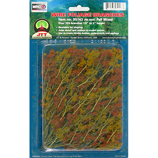 JTT Scenery Products 95521 1-1/2  to 3  Mixed Fall Color Wire Branches This is JTT Scenery Products 95521 WIRE BRANCHES, FALL MIXED 1.5-3.Condition: Factory New (C-9All original; unused; factory rubs and evidence of handling, shipping and factory test run.Standards for all toy train related accessory items apply to the visual appearance of the item and do not consider the operating functionality of the equipment.Condition and Grading Standards are subjective, at best, and are intended to act as a guide. )Operational Status: FunctionalThis item is brand new from the factory.Original Box: Yes (P-9May have store stamps and price tags. Has inner liners.)Manufacturer: JTT Scenery ProductsModel Number: 95521MSRP: $9.75Category 1: Scenery & MaterialsCategory 2: Trees & ShrubberyAvailability: Ships in 3 to 5 Business Days.The Trainz SKU for this item is P11618796. Track: 11618796 - FS - 001 - TrainzAuctionGroup00UNK - TDIDUNK