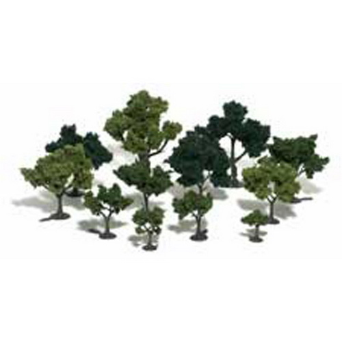 Woodland Scenics TR1101 3/4 -3  Assorted Green Deciduous Model Trees K Here is a Woodland Scenics TR1101 Realistic Tree Kit. Includes 36 three inch trees, three shades of foliage, and printed instructions on the reverse side of the package. Woodland Scenics Realistic Tree Kits are a must for hobbyists and model builders. Each kit comes with a variety of armature sizes and patented Clump-Foliage. The trees are easy to build. The armatures are bendable at room temperature and will not spring back to the original shape. The kits come with a pin on the bottom of the trunk for permanent planting. An optional base for temporary placement is provided as well.Condition: Factory New (C-9All original; unused; factory rubs and evidence of handling, shipping and factory test run.Standards for all toy train related accessory items apply to the visual appearance of the item and do not consider the operating functionality of the equipment.Condition and Grading Standards are subjective, at best, and are intended to act as a guide. )Operational Status: FunctionalThis item is brand new from the factory.Original Box: Yes (P-9May have store stamps and price tags. Has inner liners.)Manufacturer: Woodland ScenicsModel Number: TR1101Years Manufactured: 1996 - 1996MSRP: $19.99Category 1: Scenery & MaterialsCategory 2: Trees & ShrubberyAvailability: Ships in 3 to 5 Business Days.The Trainz SKU for this item is P11422608. Track: 11422608 - FS - 001 - TrainzAuctionGroup00UNK - TDIDUNK