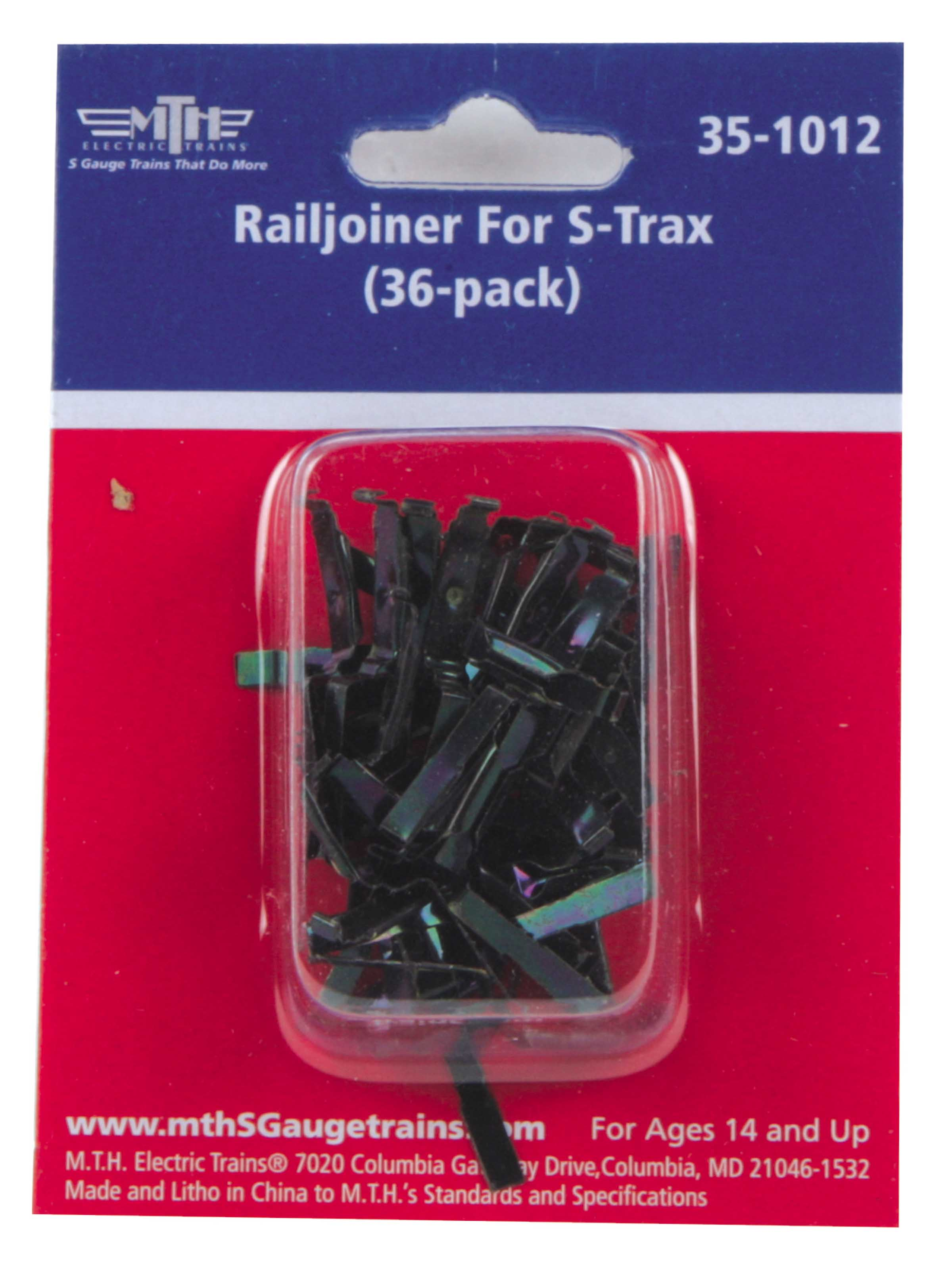 MTH 35-1012 S Railjoiner for STrax (Pack of 36) This is a MTH 35-1012 S Railjoiner for STrax (36-Pack). These all-metal Railjoiners slide onto STrax Flex Track sections bridging electrical contact from one section of track to the next.STrax is simply the easiest S Gauge track system ever manufactured. Featuring durable metal 155# Code 125 Solid Nickel-Silver T Section Rails strong enough to stand on and a built-in roadbed for a realistic appearance ensures that an STrax layout will last for years while sporting a realistic appearance not found in other S Gauge track systems.Following the specifications of the Pennsylvania Railroad for rail, ties, ballast and grading from the 1950's, each sectional component is designed with positive mechanical and electrical connections. The integrated, built-in track roadbed provides for an easy-to-use, realistic appearance. Because the roadbed is solid, STrax is perfect for temporary carpet based layouts. The built-in roadbed prevents any dirt from staining your carpet and it comes apart easily allowing temporary layout to be disassembled in minutes.While the STrax system employs durable nickel-silver rails that won't rust or oxidize in an outdoor environment, the plastic roadbed and rail ties are constructed of ABS plastic that can be compromised outdoors. Essentially, ABS plastic is not designed to withstand extreme temperature swings and can distort (in high heat) or crack in extreme cold. In addition, the plastic will tend to fade in color since it has not been treated with UV resistant paint. As a result, we do not recommend that STrax be used outdoors. Product Features: Metal Construction, Mates To STrax Track Sections, except Flex Track.Condition: Factory New (C-9All original; unused; factory rubs and evidence of handling, shipping and factory test run.Standards for all toy train related accessory items apply to the visual appearance of the item and do not consider the operating functionality of the equipment.Condition and