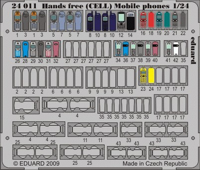 Eduard 24011 1:24 Hands Free Cell Mobile Phones This is an Eduard 24011 1:24 Hands Free Cell Mobile Phones. A 1:24 scale detail set kit.Condition: Factory NewOperational Status: FunctionalThis item is brand new from the factory.Original Box: YesManufacturer: EduardModel Number: 24011MSRP: $22.95Category 1: AccessoriesCategory 2: OtherAvailability: Ships in 3 to 5 Business Days.The Trainz SKU for this item is P12056060. Track: 12056060 - FS - 001 - TrainzAuctionGroup00UNK - TDIDUNK
