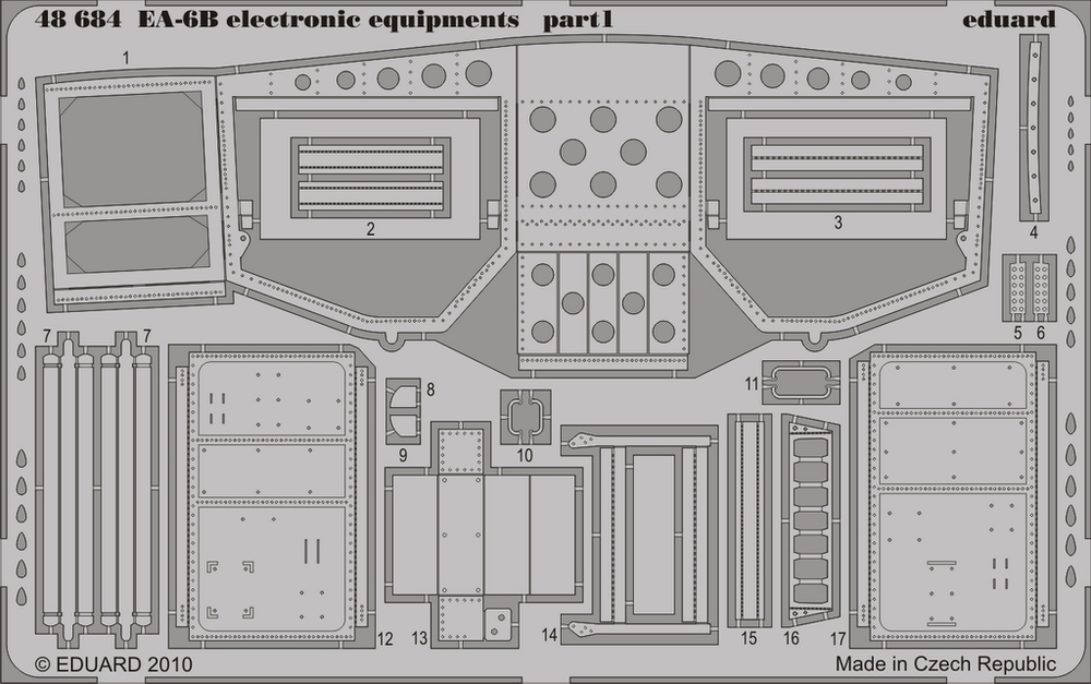Eduard 48684 1:48 EA-6B Electronic Equipments for Kinetic Model Aircra This is an Eduard 48684 1:48 EA-6B Electronic Equipments for Kinetic Model Aircraft. This is recommended for Kinetic Model Kit. Edition: Photo Etched Set, Products: Photo Etched Parts, Type: Aircraft, and Weight: 0.026 kg.Condition: Factory NewOperational Status: FunctionalThis item is brand new from the factory.Original Box: YesManufacturer: EduardModel Number: 48684MSRP: $29.95Category 1: SuppliesCategory 2: DecalsAvailability: Ships in 3 to 5 Business Days.The Trainz SKU for this item is P12017329. Track: 12017329 - FS - 001 - TrainzAuctionGroup00UNK - TDIDUNK