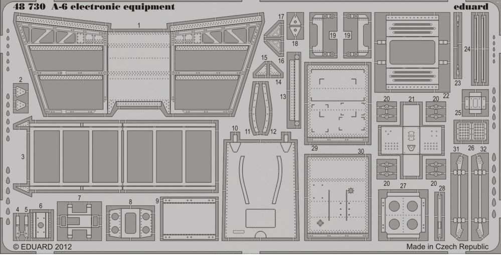 Eduard 48730 1:48 A-6 Electronic Equipment for Kinetic Model Aircraft This is an Eduard 48730 1:48 A-6 Electronic Equipment for Kinetic Model Aircraft. This is recommended for Kinetic Model Kit. Edition: Photo Etched Set, Products: Photo Etched Parts, Type: Aircraft, and Weight: 0.018 kg.Condition: Factory NewOperational Status: FunctionalThis item is brand new from the factory.Original Box: YesManufacturer: EduardModel Number: 48730MSRP: $26.95Category 1: SuppliesCategory 2: DecalsAvailability: Ships in 3 to 5 Business Days.The Trainz SKU for this item is P12012910. Track: 12012910 - FS - 001 - TrainzAuctionGroup00UNK - TDIDUNK
