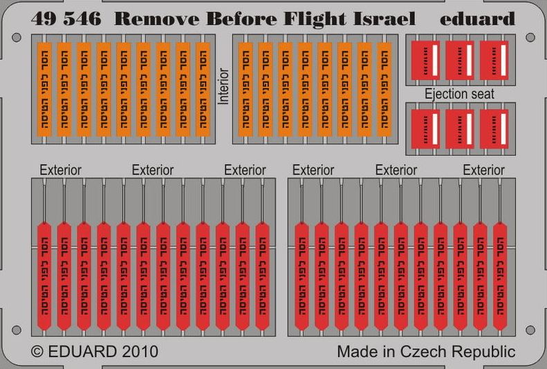 Eduard 49546 1:48 Remove Before Flight Israel for Aircraft (Painted)
