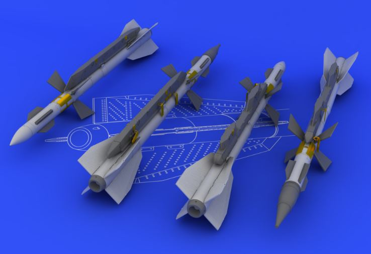 Eduard 648094 1:48 R-27ER/AA-10 Alamo-C for Aircraft (Photo-Etched & R This is an Eduard 648094 1:48 R-27ER/AA-10 Alamo-C for Aircraft (Photo-Etched & Resin). Each of four included missiles consists of: the rocket main body, front wings, central wings, nose cover, L + R rack, color photo-etched details, and decals with stencils. Products: Brassin, Type: Aircraft, Tags: Armament & Missile, and Weight: 0.075 kg.Condition: Factory NewOperational Status: FunctionalThis item is brand new from the factory.Original Box: YesManufacturer: EduardModel Number: 648094MSRP: $14.95Category 1: AccessoriesCategory 2: OtherAvailability: Ships in 3 to 5 Business Days.The Trainz SKU for this item is P12041632. Track: 12041632 - FS - 001 - TrainzAuctionGroup00UNK - TDIDUNK