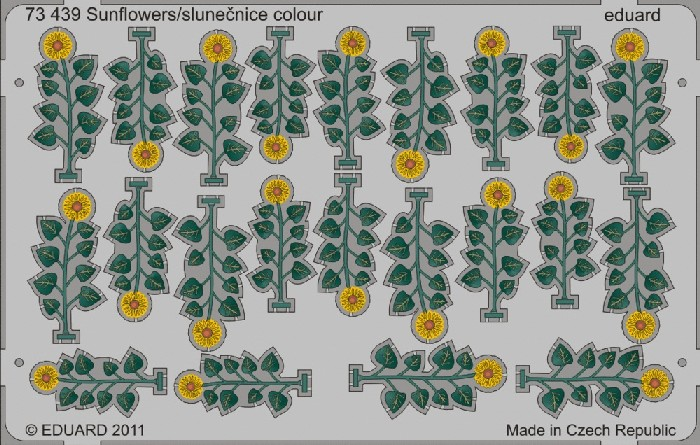 Eduard 73439 1:72 Sunflowers (Painted) This is an Eduard 73439 1:72 Sunflowers (Painted). Edition: Photo Etched Set, Products: Photo Etched Parts, Type: Aircraft, Color: Yes, Tags: Fauna & Flora, and Weight: 0.015 kg.Condition: Factory NewOperational Status: FunctionalThis item is brand new from the factory.Original Box: YesManufacturer: EduardModel Number: 73439MSRP: $24.95Category 1: SuppliesCategory 2: DecalsAvailability: Ships in 3 to 5 Business Days.The Trainz SKU for this item is P12013159. Track: 12013159 - FS - 001 - TrainzAuctionGroup00UNK - TDIDUNK
