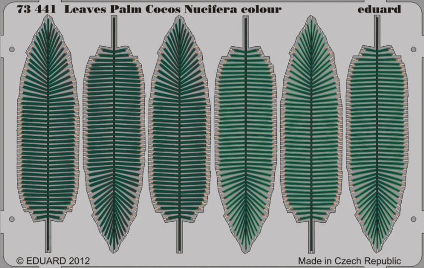 Eduard 73441 1:72 Leaves Palm Cocos Nucifera (Painted) This is an Eduard 73441 1:72 Leaves Palm Cocos Nucifera (Painted). Edition: Photo Etched Set, Products: Photo Etched Parts, Type: Aircraft, Color: Yes, Tags: Fauna & Flora, and Weight: 0.015 kg.Condition: Factory NewOperational Status: FunctionalThis item is brand new from the factory.Original Box: YesManufacturer: EduardModel Number: 73441MSRP: $26.95Category 1: SuppliesCategory 2: DecalsAvailability: Ships in 3 to 5 Business Days.The Trainz SKU for this item is P12013170. Track: 12013170 - FS - 001 - TrainzAuctionGroup00UNK - TDIDUNK