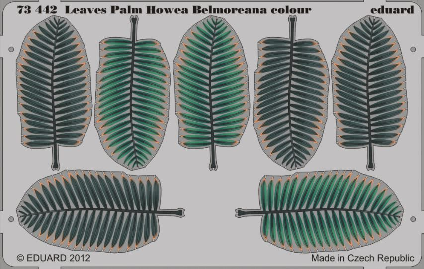 Eduard 73442 1:72 Leaves Palm Howea Belmoreana (Painted) This is an Eduard 73442 1:72 Leaves Palm Howea Belmoreana (Painted). Edition: Photo Etched Set, Products: Photo Etched Parts, Type: Aircraft, Color: Yes, Tags: Fauna & Flora, and Weight: 0.013 kg.Condition: Factory NewOperational Status: FunctionalThis item is brand new from the factory.Original Box: YesManufacturer: EduardModel Number: 73442MSRP: $26.95Category 1: SuppliesCategory 2: DecalsAvailability: Ships in 3 to 5 Business Days.The Trainz SKU for this item is P12013171. Track: 12013171 - FS - 001 - TrainzAuctionGroup00UNK - TDIDUNK