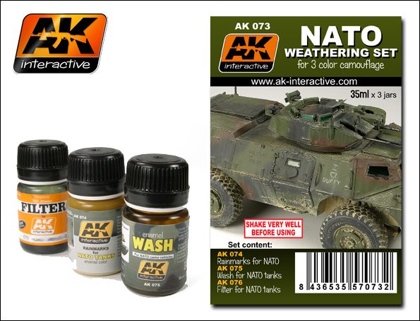 AK Interactive 73 NATO Camouflage Enamel Paint Set (74, 75, 76) This is an AK Interactive 73 NATO Camouflage Enamel Paint Set (74, 75, 76). The set includes all the basic products you need to do a near total weathering effect. The set contains a filter, a wash and a product to do streaking grime over the famous Panzer Grey. All you need to do to complete the look is choose your favourite colours of dust and mud.Condition: Factory NewOperational Status: FunctionalThis item is brand new from the factory.Original Box: YesManufacturer: AK InteractiveModel Number: 73MSRP: $23.99Category 1: SuppliesCategory 2: PaintAvailability: Ships in 3 to 5 Business Days.The Trainz SKU for this item is P12030508. Track: 12030508 - FS - 001 - TrainzAuctionGroup00UNK - TDIDUNK