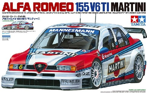 Tamiya 24176 MARTINI ALFA ROMEO 155 V6TI:24 This is a Tamiya 24176 1/24 Martini Alfa Romeo 155 V6TI. Features: This is a 1/24 scale plastic model assembly kit of the Martini-sponsored Alfa Romeo 155 V6 TI which appeared in the 1996 International Touring Car Championship. Length: 196mm, width: 80mm. The body is elegantly captured, including such details as the agressive front spoiler, large fenders and unique rear wing. Just like on the actual car, the front cowling can be removed, allowing you to display the engine room with powerful V6 and complex air ducts. Suspension and 4WD system are also given accurate depictions. The interior is kitted out with roll cage, pedals and other equipment for an authentic finish. High-quality Cartograf decals included to recreate distinctive Martini livery. Choose between No.5 and No.6 cars.Condition: Factory NewOperational Status: FunctionalThis item is brand new from the factory.Original Box: YesManufacturer: TamiyaModel Number: 24176MSRP: $49.00Category 1: Other ToysCategory 2: Radio Control ToysAvailability: Ships in 1 Business Day!The Trainz SKU for this item is P12162084. Track: 12162084 - No Location Assigned - 001 - TrainzAuctionGroup00UNK - TDIDUNK