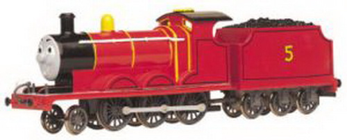 Bachmann 58743 HO Thomas & Friends James The Red Engine Locomotive #5 This is Bachmann 58743 HO Thomas & Friends James The Red Engine Locomotive #5. James is a medium-sized engine. His six driving wheels are not as big as Gordon's and not as small as Thomas'. He has a fine scarlet coat and brass dome and likes to think of himself as a really splendid engine. This can occasionally lead to high-falutin' ideas about the sort of work suitable for such a noble creature. Inevitably they land James in trouble. James is an old-fashioned steam engine painted red with a black boiler section, cab roof and pinstriping. James' smiling grey face on the front of the engine features eyes that move back and forth. James' red tender has black pinstriping, a yellow number 5 on each side, and is filled with black coal. International style hook and loop couplers on each end. Metal wheels and drivers. For use on HO/OO scale track (compatible with Bachmann's E-Z Track). Heat-sealed clamshell packaging.Condition: Factory New (C-9All original; unused; factory rubs and evidence of handling, shipping and factory test run.Standards for all toy train related accessory items apply to the visual appearance of the item and do not consider the operating functionality of the equipment.Condition and Grading Standards are subjective, at best, and are intended to act as a guide. )Operational Status: FunctionalThis item is brand new from the factory.Original Box: Yes (P-9May have store stamps and price tags. Has inner liners.)Manufacturer: BachmannModel Number: 58743Road Name: ThomasMSRP: $107.00Scale/Era: ThomasModel Type: HO Scale Electric TrainsAvailability: Ships in 1 Business Day!The Trainz SKU for this item is P11462133. Track: 11462133 - No Location Assigned - 001 - TrainzAuctionGroup00UNK - TDIDUNK