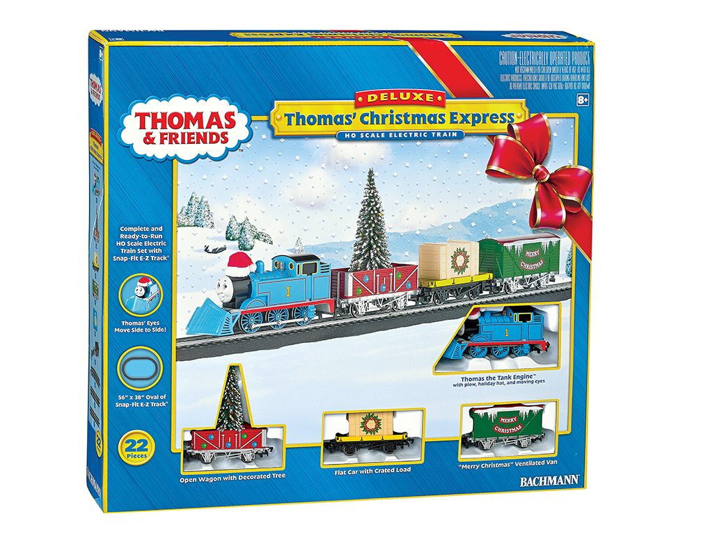 Bachmann 721 HO Scale Thomas' Christmas Express This is Bachmann 721 Thomas' Christmas Express. Sporting a merry hat and equipped with a snow plow, Thomas is ready to brave the winter weather to make sure the Christmas tree and important cargo arrive on time for the Island of Sodor holiday party. The festive Thomas Christmas Express will deliver Yuletide fun to children of all ages!This ready-to-run train set includes:Thomas the Tank EngineTM with plow, holiday hat, and moving eyes Open Wagon with decorated tree and international-style hook and loop couplersFlat Car with Crated Load and international-style hook and loop couplers Merry Christmas Ventilated Van with international-style hook and loop couplers 56 x 38 oval of snap-fit E-Z Track® with 12 pieces of curved track, 3 pieces of straight track, and 1 straight plug-in terminal rerailerPower pack and speed controller Illustrated instruction manualCondition: Factory New (C-9All original; unused; factory rubs and evidence of handling, shipping and factory test run.Standards for all toy train related accessory items apply to the visual appearance of the item and do not consider the operating functionality of the equipment.Condition and Grading Standards are subjective, at best, and are intended to act as a guide. )Operational Status: FunctionalThis item is brand new from the factory.Original Box: Yes (P-9May have store stamps and price tags. Has inner liners.)Manufacturer: BachmannModel Number: 721MSRP: $235.00Scale/Era: ThomasModel Type: HO Scale Electric TrainsAvailability: Ships in 1 Business Day!The Trainz SKU for this item is P11979776. Track: 11979776 - No Location Assigned - 001 - TrainzAuctionGroup00UNK - TDIDUNK