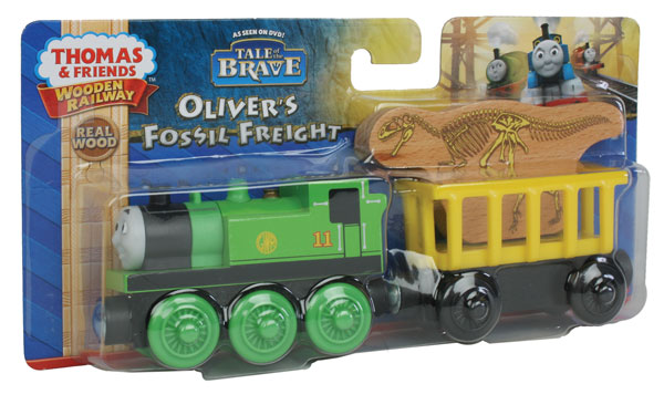 Fisher Price BDG21 Thomas & Friends Wooden Railway Oliver's Fossil Fre This is a Fisher Price BDG21 Thomas & Friends™ Wooden Railway Oliver's Fossil Freight. Oliver is the green number 11 steam engine featured in the Tale of the Brave movie. His cargo car holds really rare and very interesting cargo—it's a dinosaur fossil that needs to be taken to the Sodor Museum! Includes: Oliver, A cargo car and A wooden fossil cargo piece.Condition: Factory New (C-9All original; unused; factory rubs and evidence of handling, shipping and factory test run.Standards for all toy train related accessory items apply to the visual appearance of the item and do not consider the operating functionality of the equipment.Condition and Grading Standards are subjective, at best, and are intended to act as a guide. )Operational Status: FunctionalThis item is brand new from the factory.Original Box: Yes (P-9May have store stamps and price tags. Has inner liners.)Manufacturer: Fisher PriceModel Number: BDG21MSRP: $34.99Scale/Era: ThomasModel Type: Wooden TrainsAvailability: Ships in 2 Business Days!The Trainz SKU for this item is P12002712. Track: 12002712 - No Location Assigned - 001 - TrainzAuctionGroup00UNK - TDIDUNK