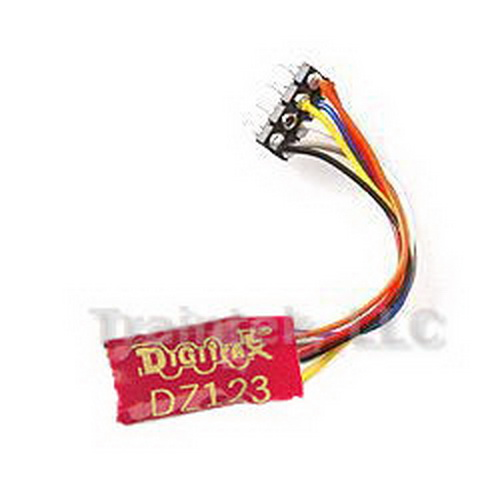 Digitrax DZ123PS Mble dcdr 2 fnctn md plg Features:•Economical decoder without Back EMF•May be used for HO, N and Z-Scales•Decoder Lock equipped•Wire Harness with NMRA 8-Pin Plug•1.0 Amp (2.0 Amps Peak) motor current rated•Two Function Outputs total at 500mA•0.55 x 0.36 x 0.13 (19mm xCondition: Factory New (C-9All original; unused; factory rubs and evidence of handling, shipping and factory test run.Standards for all toy train related accessory items apply to the visual appearance of the item and do not consider the operating functionality of the equipment.Condition and Grading Standards are subjective, at best, and are intended to act as a guide. )Operational Status: FunctionalThis item is brand new from the factory.Original Box: Yes (P-9May have store stamps and price tags. Has inner liners.)Manufacturer: DigitraxModel Number: DZ123PSMSRP: $22.99Scale/Era: Z ScaleModel Type: Diesel LocoAvailability: Ships in 3 to 5 Business Days.The Trainz SKU for this item is P11476160. Track: 11476160 - FS - 001 - TrainzAuctionGroup00UNK - TDIDUNK