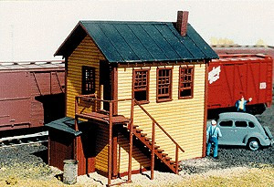 American Model Builders 709 HO Railroad Yard Office Laser Kit Features include clapboard siding, rolled roofing with peel and stick backing, and an incredibly beautiful set of Laser-Cut stairs. 2.5  L x 1.75  W x 3  HCondition: Factory New (C-9All original; unused; factory rubs and evidence of handling, shipping and factory test run.Standards for all toy train related accessory items apply to the visual appearance of the item and do not consider the operating functionality of the equipment.Condition and Grading Standards are subjective, at best, and are intended to act as a guide. )Operational Status: FunctionalThis item is brand new from the factory.Original Box: Yes (P-9May have store stamps and price tags. Has inner liners.)Manufacturer: American Model BuildersModel Number: 709MSRP: $29.95Scale/Era: HO ModernModel Type: BuildingsAvailability: Ships in 3 to 5 Business Days.The Trainz SKU for this item is P11460549. Track: 11460549 - FS - 001 - TrainzAuctionGroup00UNK - TDIDUNK