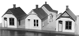 Grandt Line 5903 Reese St. Row Houses (3) This is Grandt Line 5903 Reese St. row houses 3/. Unpainted plastic kit. Gold Belt Kits consist of injection molded styrene components, which allow for superb detailing and ease of construction. Windows and doors are separately molded for ease in glazing and painting. Check the photos out carefully....there are many great details in each kit.This kit is based on a group of houses which can still be seen today on Reese Street in Silverton, CO. Constructed in the early 1900's, they are typical of the modest tract houses built to accommodate workers in mining areas throughout the West. Similar houses dotted the streets of mining towns in California, Nevada, Arizona, Colorado and Utah. As time went on, the houses were added onto and expanded to fit the needs of their residents.Kit provides components for constructing three complete houses, including their lean-to's and outhouses. To give your buildings an individual look, you can choose from four different gable trims and two different front walls. The lean-to's, which can be made in two different sizes, may be used on the back or side of the buildings. These kits are great fun if you are a kit-basher. The basic house (without the lean-to) measures 1.24 x 1.85. Although there are many different ways to arrange the components, the three houses, built as designed, will fit on a 3 x 6 footprint (not including the outhouses).Footprint: 26.2cm x 12.5cm (10 x 5)Condition: Factory New (C-9All original; unused; factory rubs and evidence of handling, shipping and factory test run.Standards for all toy train related accessory items apply to the visual appearance of the item and do not consider the operating functionality of the equipment.Condition and Grading Standards are subjective, at best, and are intended to act as a guide. )Operational Status: FunctionalThis item is brand new from the factory.Original Box: Yes (P-9May have store stamps and price tags. Has inner liners.