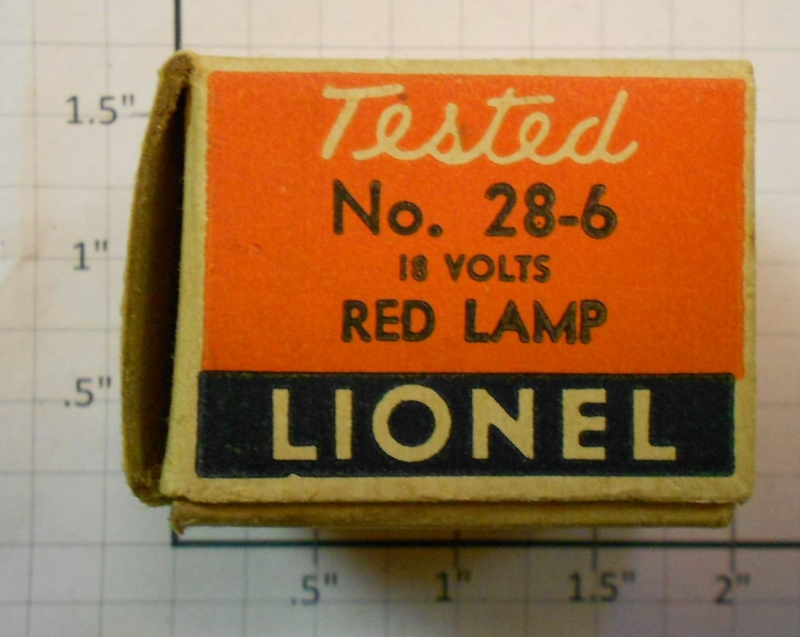 Lionel 28-6 18 Volt Red Bulb in Separate Sale Box Check the photos for a detailed look at this item.. Box will be missing one flapCondition: Part (N/ATrainz does not provide grading for parts.Standards for all toy train related accessory items apply to the visual appearance of the item and do not consider the operating functionality of the equipment.Condition and Grading Standards are subjective, at best, and are intended to act as a guide. )Operational Status: FunctionalThis part is in workable condition.Original Box: NoManufacturer: LionelModel Number: 28-6Category 1: PartsCategory 2: O ScaleAvailability: Ships in 3 Business Days!We are unable to provide parts lookup service or fitment assistance.The Trainz SKU for this item is P11398451. Track: 11398451 - Parts (20A11) - 001 - TrainzAuctionGroup00UNK - TDIDUNK
