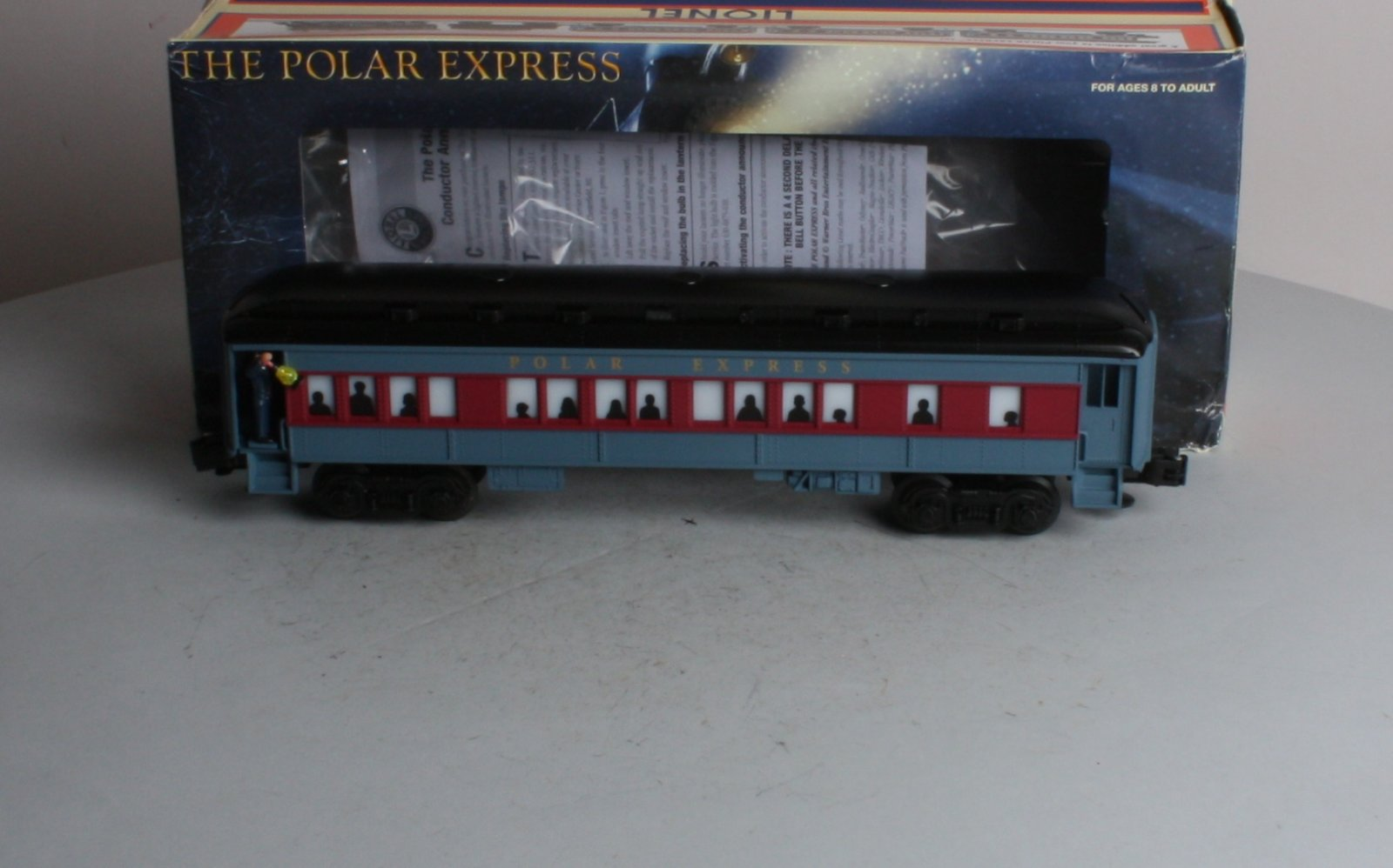 Lionel 6-36875 O Polar Express Coach w/Conductor Announcements This is a Lionel 6-36875 Polar Express Coach with Conductor Announcements. For even more excitement, add this Lionel 36875 Polar Express Coach passenger coach with real conductor announcements from the movie to your Polar Express Set. The conductor figure, holding his lighted lantern, stands in the doorway welcoming passengers, and says  All aboard!  The car features include interior lighting, silhouettes in windows, transformer-controlled conductor announcement triggering, an ON/OFF switch, conductor figure in doorway, a lighted lantern and it measures 12 inches long.Condition: Factory New (C-9All original; unused; factory rubs and evidence of handling, shipping and factory test run.Standards for all toy train related accessory items apply to the visual appearance of the item and do not consider the operating functionality of the equipment.Condition and Grading Standards are subjective, at best, and are intended to act as a guide. )Operational Status: FunctionalThis item is brand new from the factory.Original Box: Yes (P-9May have store stamps and price tags. Has inner liners.)Manufacturer: LionelModel Number: 6-36875Road Name: Polar ExpressMSRP: $131.99Scale/Era: O ModernModel Type: Passenger CarsAvailability: Ships in 3 to 5 Business Days.The Trainz SKU for this item is P11438240. Track: 11438240 - FS - 001 - TrainzAuctionGroup00UNK - TDIDUNK