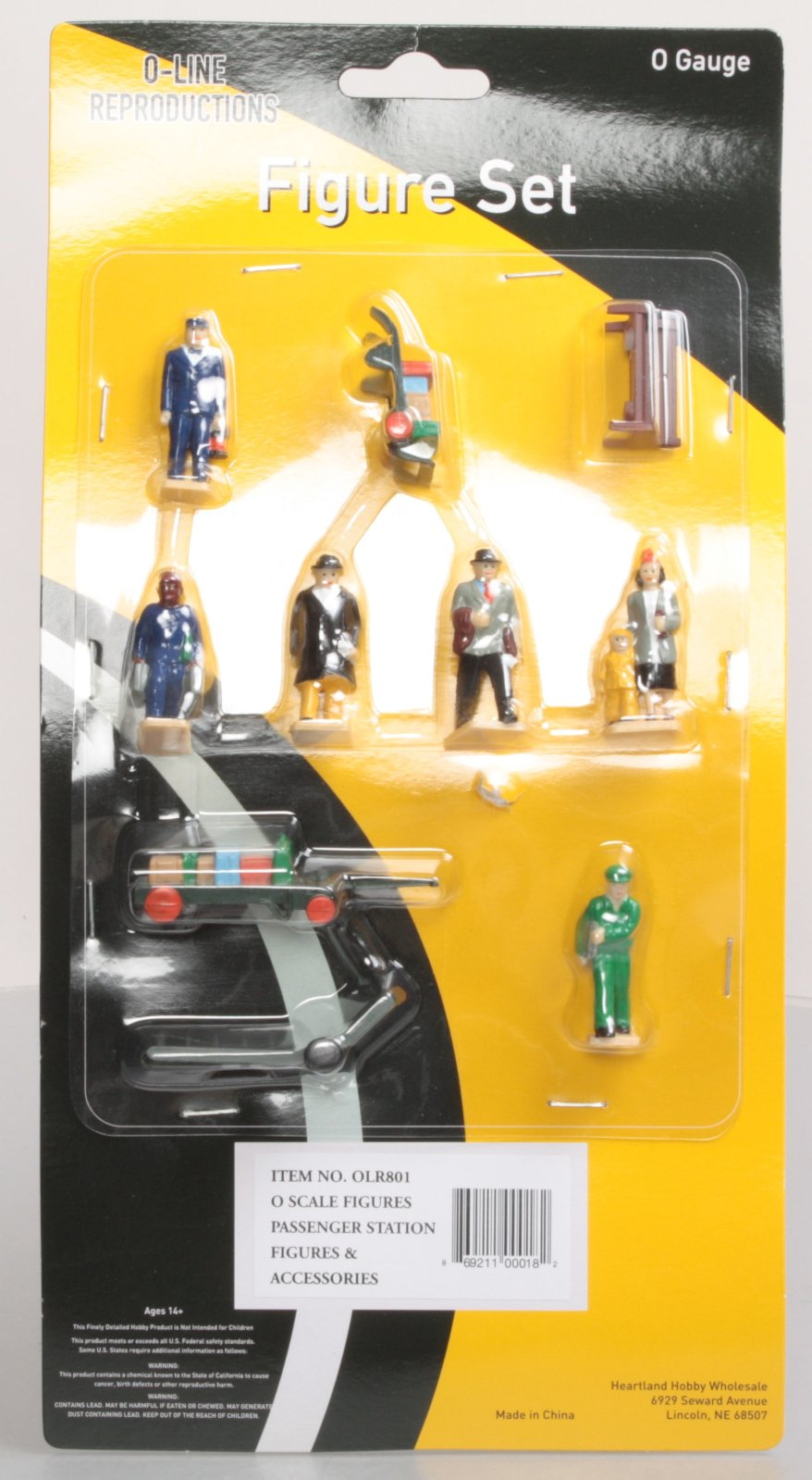 O-Line 801 Passenger Station Figures and Accessories Set (10) This is an O-Line 801 Passenger Station Figures and Accessories Set (10). These figures are fully painted in an assortment of clothing colors that will enable you to populate your passenger station platforms and buildings to enhance your toy train layout. Each individual person is hand painted in a realistic/non-shiny finish with full facial features and clothing details that are truly realistic in appearance.Condition: Factory New (C-9All original; unused; factory rubs and evidence of handling, shipping and factory test run.Standards for all toy train related accessory items apply to the visual appearance of the item and do not consider the operating functionality of the equipment.Condition and Grading Standards are subjective, at best, and are intended to act as a guide. )Operational Status: FunctionalThis item is brand new from the factory.Original Box: Yes (P-9May have store stamps and price tags. Has inner liners.)Manufacturer: O-LineModel Number: 801MSRP: $44.00Scale/Era: O ModernModel Type: FiguresAvailability: Ships within 3 Business Days!The Trainz SKU for this item is P12168209. Track: 12168209 - 1008-E (Suite 2740-200)  - 001 - TrainzAuctionGroup00UNK - TDIDUNK