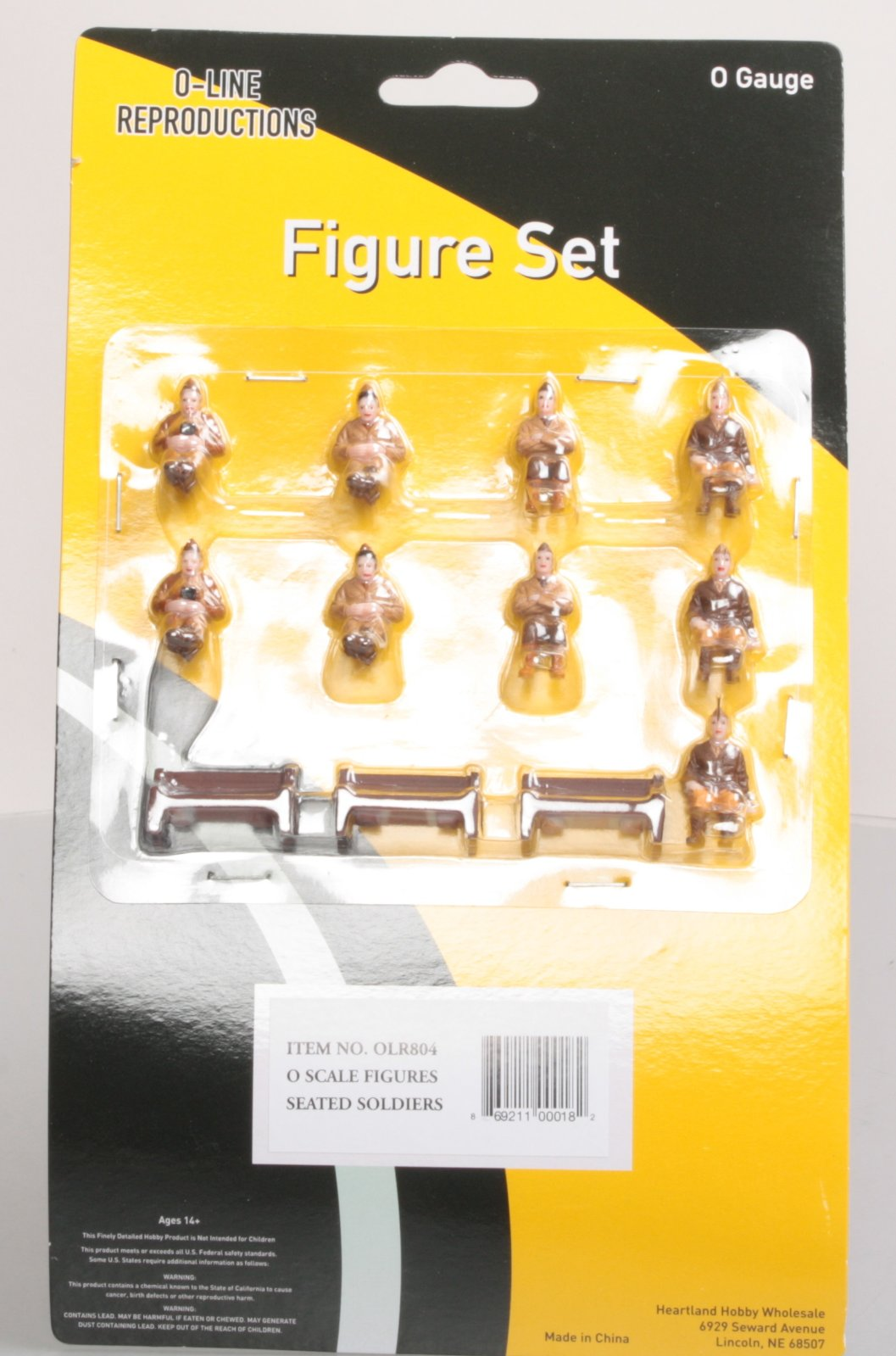 O-Line 804 Seated Soldiers & Benches Figure Set (12) This is an O-Line 804 Seated Soldiers & Benches Figure Set (12). These figures are fully painted in an assortment of clothing colors to enhance your toy train layout. Each individual person is hand painted in a realistic/non-shiny finish with full facial features and clothing details that are truly realistic in appearance.Condition: Factory New (C-9All original; unused; factory rubs and evidence of handling, shipping and factory test run.Standards for all toy train related accessory items apply to the visual appearance of the item and do not consider the operating functionality of the equipment.Condition and Grading Standards are subjective, at best, and are intended to act as a guide. )Operational Status: FunctionalThis item is brand new from the factory.Original Box: Yes (P-9May have store stamps and price tags. Has inner liners.)Manufacturer: O-LineModel Number: 804MSRP: $44.00Scale/Era: O ModernModel Type: FiguresAvailability: Ships within 3 Business Days!The Trainz SKU for this item is P12168212. Track: 12168212 - 1021-E (Suite 2740-200)  - 001 - TrainzAuctionGroup00UNK - TDIDUNK