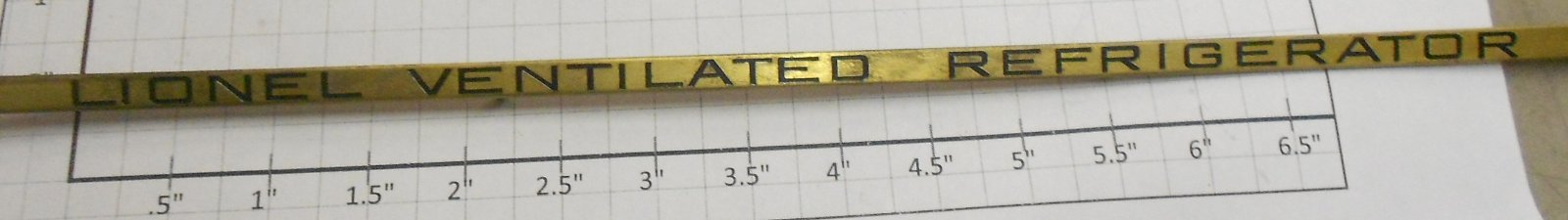Lionel 214R-10B Brass Ventilated Refrigerator Nameplate Check the photos for a detailed look at this item.Condition: Part (N/ATrainz does not provide grading for parts.Standards for all toy train related accessory items apply to the visual appearance of the item and do not consider the operating functionality of the equipment.Condition and Grading Standards are subjective, at best, and are intended to act as a guide. )Operational Status: FunctionalThis part is in workable condition.Original Box: NoModel Number: 214R-10BVariation: ReproductionCategory 1: PartsCategory 2: Std ScaleAvailability: Ships in 3 Business Days!We are unable to provide parts lookup service or fitment assistance.The Trainz SKU for this item is P12255452. Track: 12255452 - Parts (7N4) - 001 - TrainzAuctionGroup00UNK - TDIDUNK