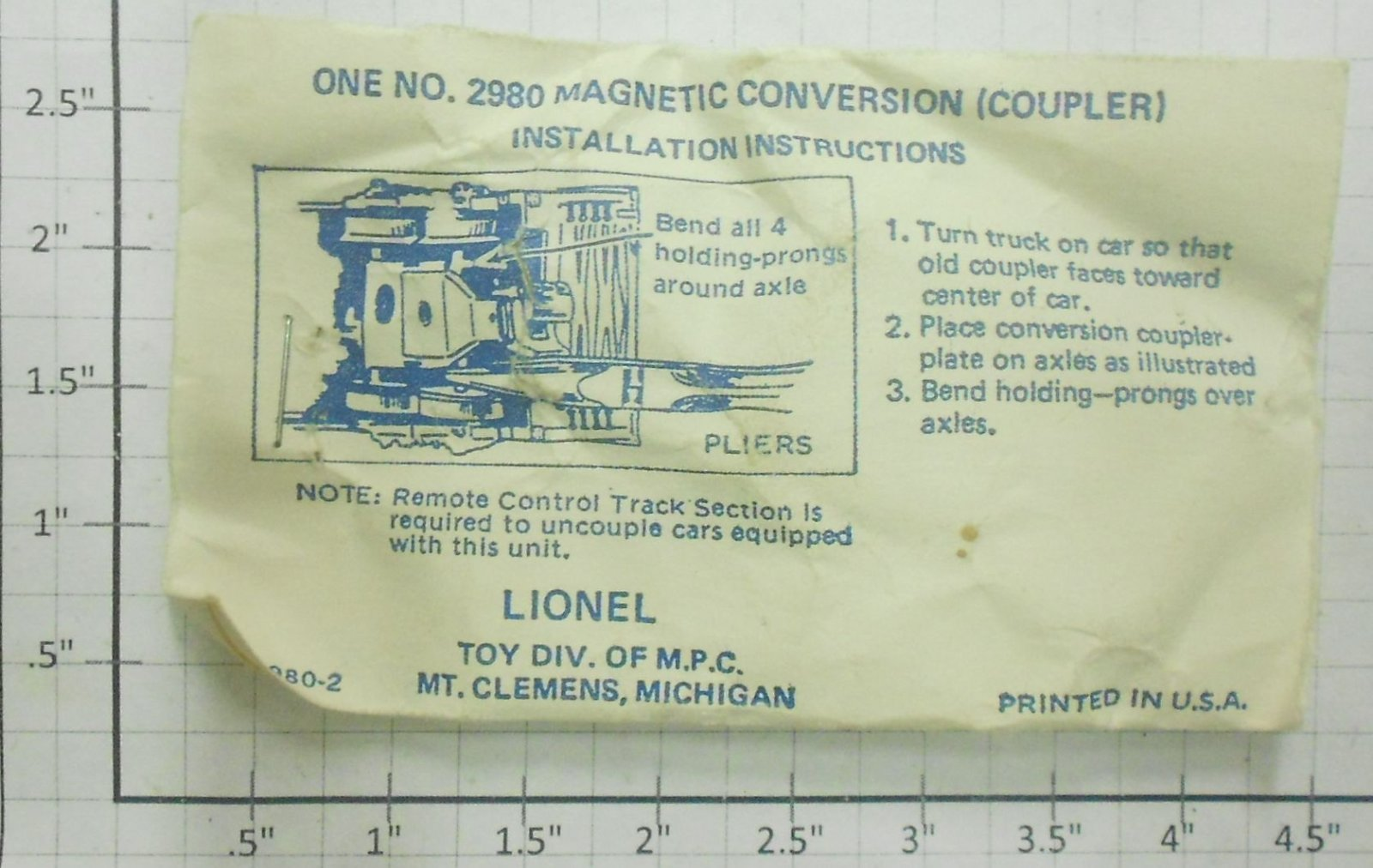 Lionel 2980 Magnetic Conversion Coupler In Envelope Ebay Schematic