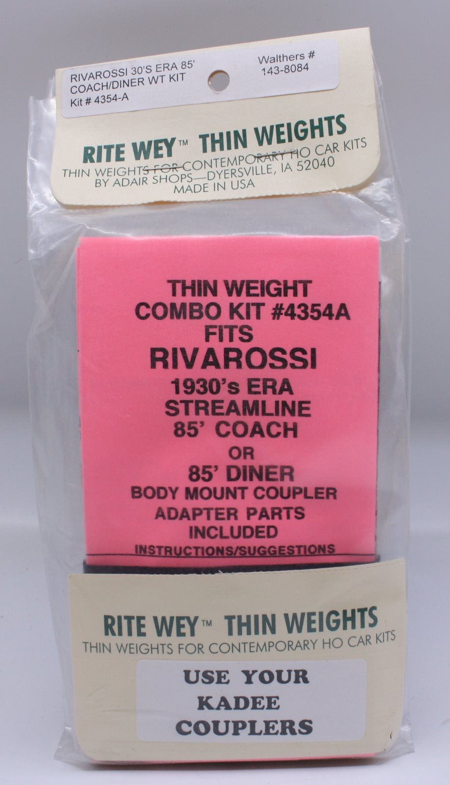Rite Wey 4354-A Rivarossi 30/'s EAR 85/' Coach//Diner WT Kit